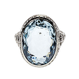 14K White Gold Aquamarine Ring Size 6