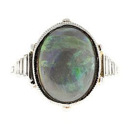 Platinum 6.50ct Opal & Emerald Cut Diamond Ring Size 8.5