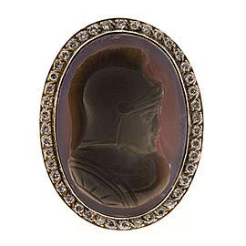 14K Rose Gold Carved Hardstone Cameo & 0.50ct Diamond Ring Size 8.5