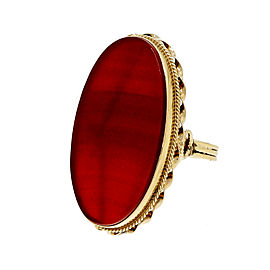 Art Deco 1940 14k Rose Gold Translucent Carnelian Ring Size 9.25