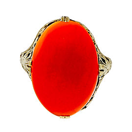 Vintage Art Deco 14K Yellow Gold 7.00ct Carnelian Ring Filigree Ring Size 9.5