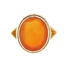 14k Yellow Gold Intaglio Style 1900 Carved Carnelian Hardstone Ring Size 6.5