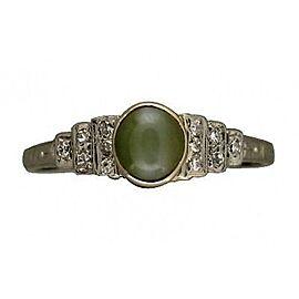 Platinum Vintage 1929 Art Deco Cabochon Chrysoberyl Cat's Eye & Diamond Ring Size 8