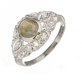 Platinum Cabochon Chrysoberyl Cat's Eye Round Diamond Ring Size 6.5 1920s