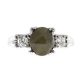 Platinum with Chrysoberyl Cats Eye & Diamond Fishtail Ring Size 6.5
