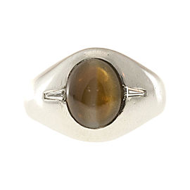 Vintage Platinum with 4.07ct F & F Felger Chrysoberyl Cats Eye and Diamond Ring Size 7.75