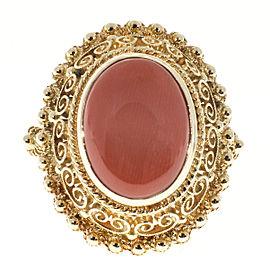 Vintage 18K Rose Gold & Coral Open Work Ring Size 5.5