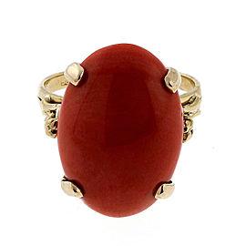 Vintage 14k Yellow Gold Orange Coral 9.70ct Ring Size 8