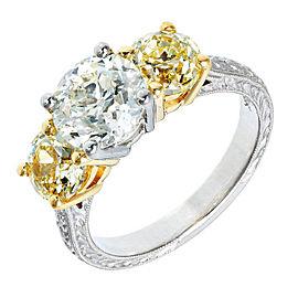 Peter Suchy Platinum 18k Yellow Gold Three Stone White Yellow Diamond Ring Size 6.5