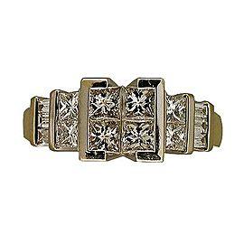 14k White & Yellow Gold Princess Cut Diamond Engagement Ring Size 6.5