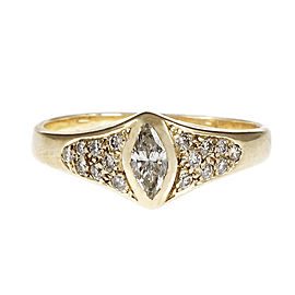 14K Yellow Gold Diamond Ring Size 9.25