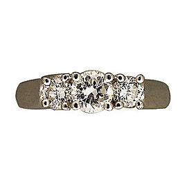 Platinum Full Cut Round Three Stone Diamond Ring Size 5