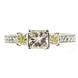 Platinum White & Fancy Yellow Diamond Micro Pave Sides Ring Size 7.25
