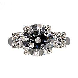 Platinum Vintage 3 Stone Round Ideal Cut Diamond Ring Size 5.5