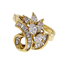 Vintage 1960 1.05ct Marquise Baguette Swirl 18k Yellow Gold Diamond Ring Size 7.25