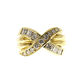 "18K Yellow Gold with 0.75ct Diamond Double Band ""X"" Ring Size 3.5"
