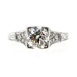 Vintage Art Deco Edwardian Platinum with 1.34ct Transitional Diamond Ring Size 7