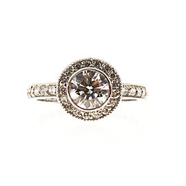 Platinum with 1.01ct Diamond Micro Pave Engraved Ring Size 7
