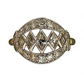 Platinum Art Deco 1940'S Kite Shaped & Round Bead Diamond Ring Size 5.5