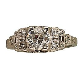 Platinum .81ct Cushion Cut and Round Diamond Art Deco Ring Size 5.5