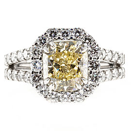 Platinum Yellow and White Diamond Ring Size 6.5