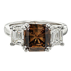 Vintage Platinum with 2.14ct Natural Radiant Cut Orangy Dark Brown Diamond Ring Size 6