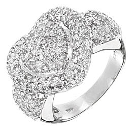 14K White Gold with 2.75ct. Diamond Double Heart Ring Size 7.75