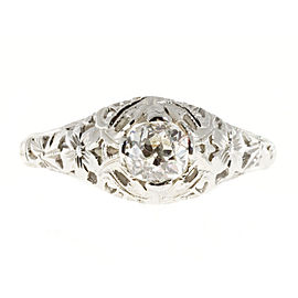18k White Gold Vintage Diamond 0.50ct Art Deco Ring Size 7.75