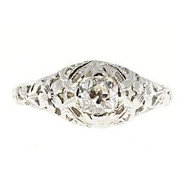 18k White Gold Vintage Diamond 0.50ct Art Deco Ring Size 7.75