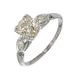 Vintage Art Deco Platinum with 0.92ct Diamond Natural Golden Yellow Ring Size 6.5