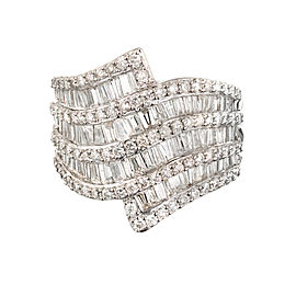 14k White Gold 2.80ctw Baguette and Round Diamond 9 Row Tapered Swirl Wide Band Ring Size 8.75