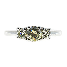 Vintage 14K White Gold with 0.61ct. & 0.41ct. Diamond Ring Size 6.25
