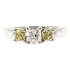 Vintage 14K White Gold Radiant Cut Diamond and Yellow Diamond Ring Size 6.5