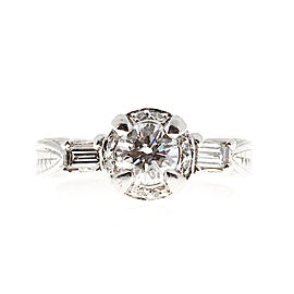 Platinum with 1.01ct. Diamond Antique Style Ring Size 6.25