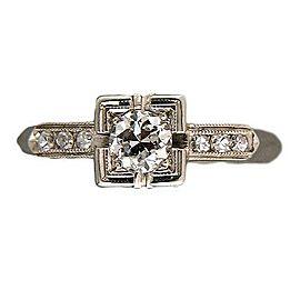 18k White Gold Vintage Art Deco .25ct Diamond Ring Size 6 1940