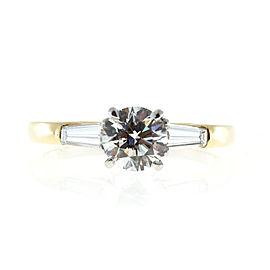 18K Yellow Gold & Platinum 1.24ct Diamond Ring Size 7