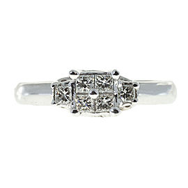 Vintage Platinum with .70ct Princess Cut Diamond Engagement Ring Size 6