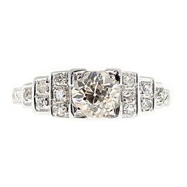 Art Deco 18K White Gold 0.65ct Diamond Ring Size 6.25