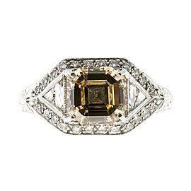 Vintage Art Deco Platinum with 2.00ct Yellow and Brown Diamond Ring Size 6.75