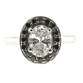 Platinum 0.96ct Diamond Halo Ring Size 4