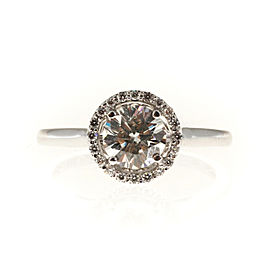 14K White Gold with 1.00ct Solitaire Diamond Halo Engagement Ring Size 6.75