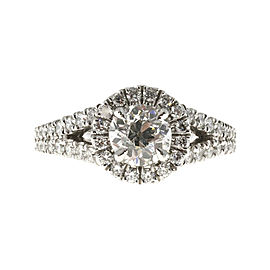 Platinum with 1.00ct Diamond Engagement Halo Split Shank Ring Size 6.5