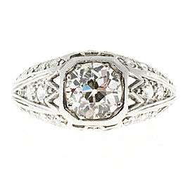 Platinum with 0.93ct Diamond Art Deco Ring Size 5.5