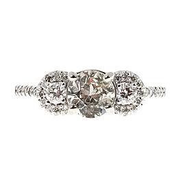 14K White Gold 0.94ct Diamond Halo Three Stone Ring Size 7
