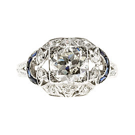 Platinum 1.30ct Diamond and Sapphire Art Deco Ring Size 6.25