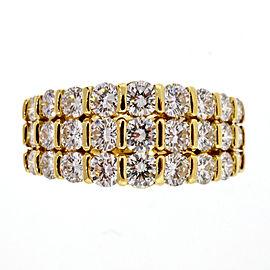 18k Yellow Gold 1.75ct Ideal Diamond Gemlok 3 Row Wedding Band Ring Size 5.25
