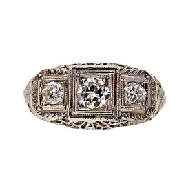 18K White Gold 0.48ct Diamond Filigree 3 Stone Ring Size 6.25