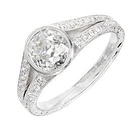 Platinum with 1.52ct Diamond Art Deco Engagement Ring Size 6.5