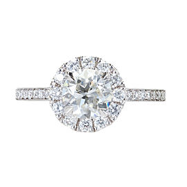 Platinum with 1.84ct Diamond Halo Engagement Ring Size 6.7