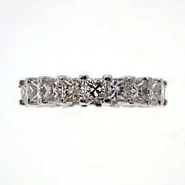 Platinum 4.00ctw Princess Cut Diamond Eternity Wedding Band Ring Size 6.75